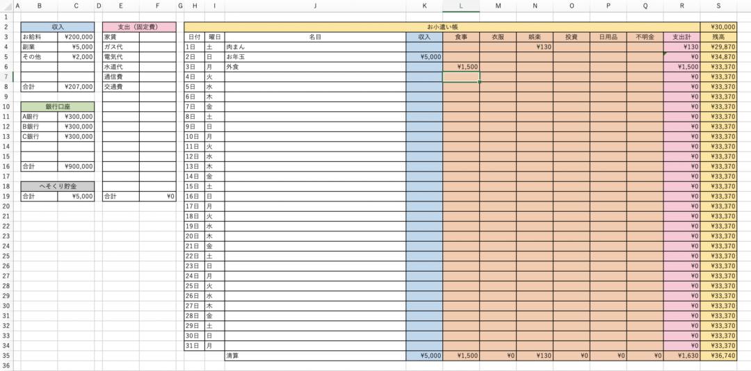 エクセルで家計簿の完成!