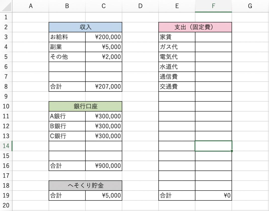エクセル家計簿・大分類